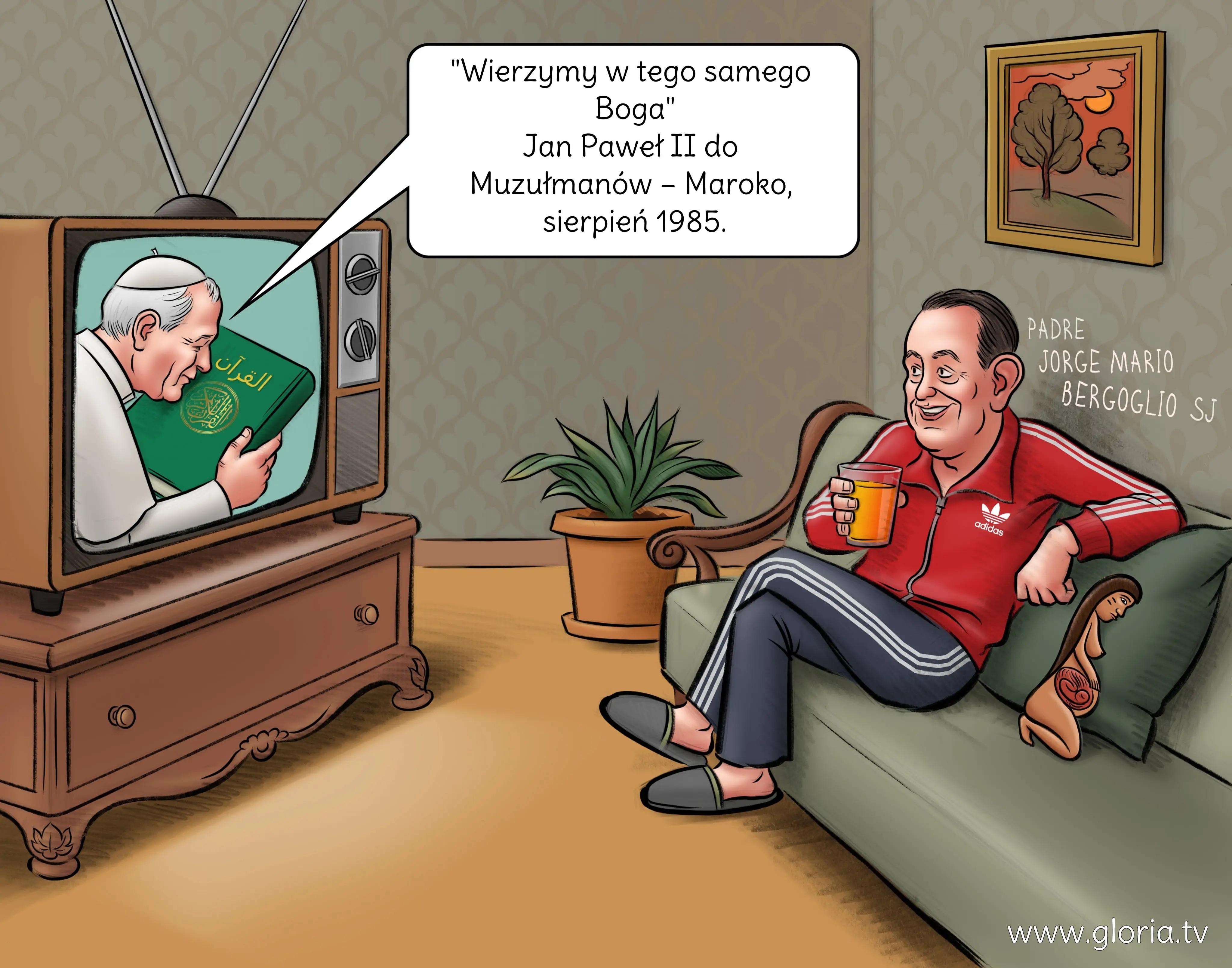 Bergoglio ogląda w telewizji Wojtyłę całującego Koran