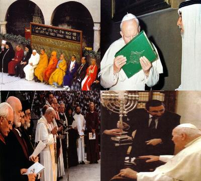 Pseudopapież Jan Paweł II manifestuje apostazję
