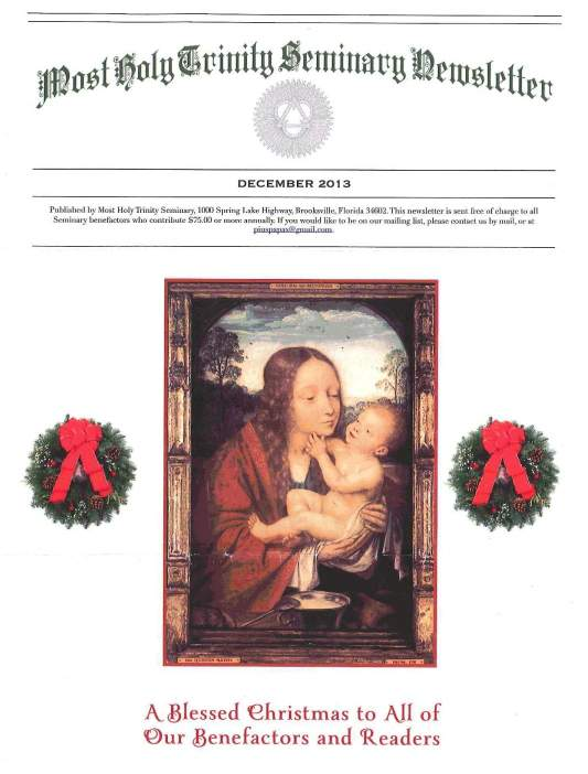 """Most Holy Trinity Seminary Newsletter"", December 2013"