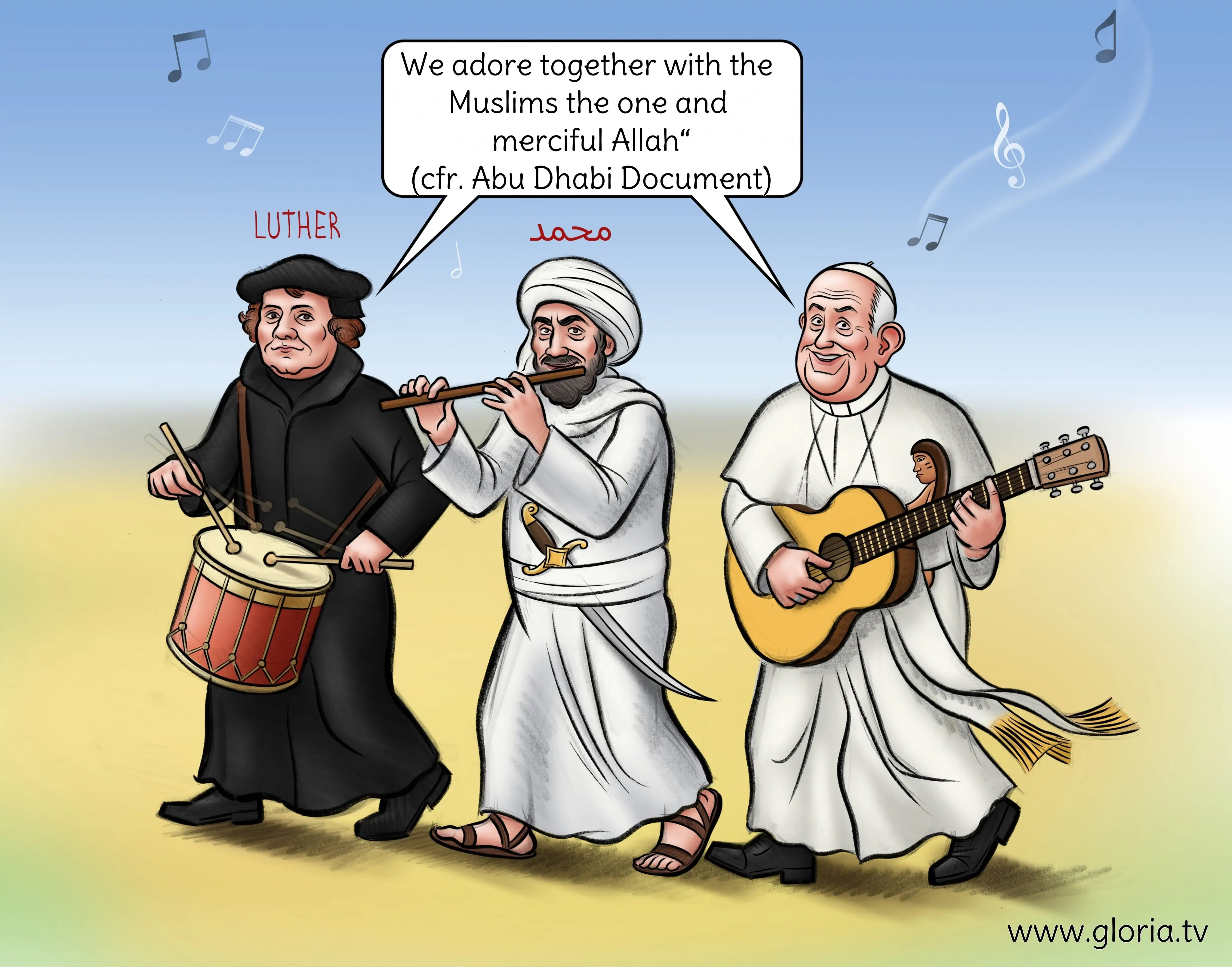 Pseudopapież Bergoglio, Luter i mahometanin