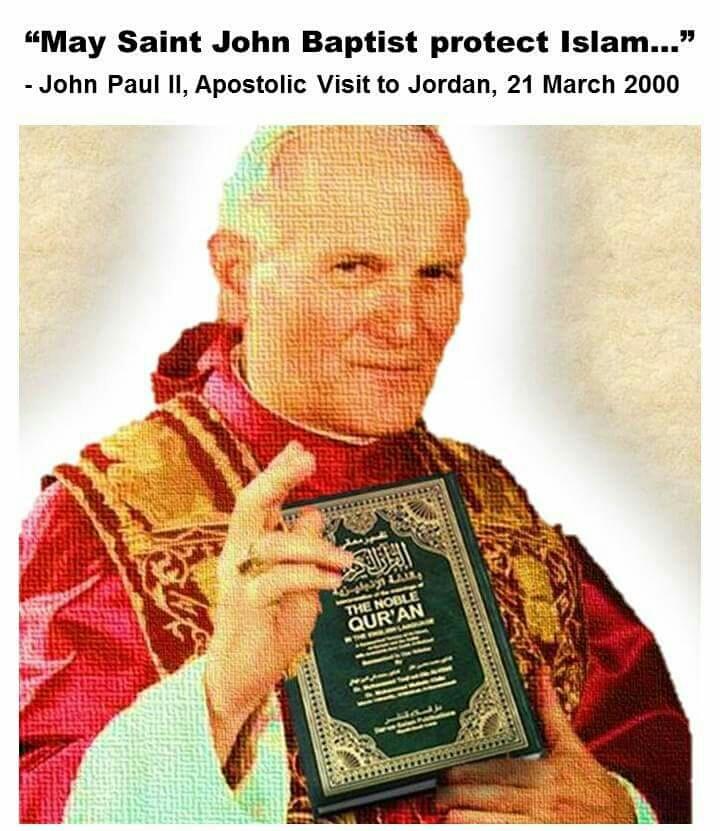 Pseudopapież Jan Paweł II manifestuje swoją apostazję popierając islam