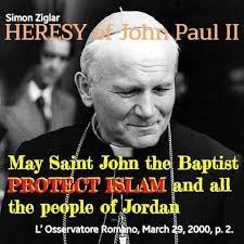 Pseudopapież Jan Paweł II manifestuje swoją apostazję wspierając islam