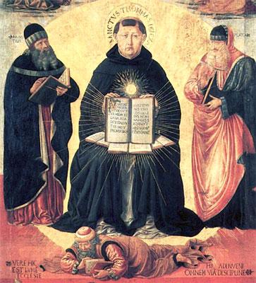 Św. Tomasz z Akwinu, Arystoteles, Platon i pokonany Awerroes. Benozzo Gozzoli, 1471 r.