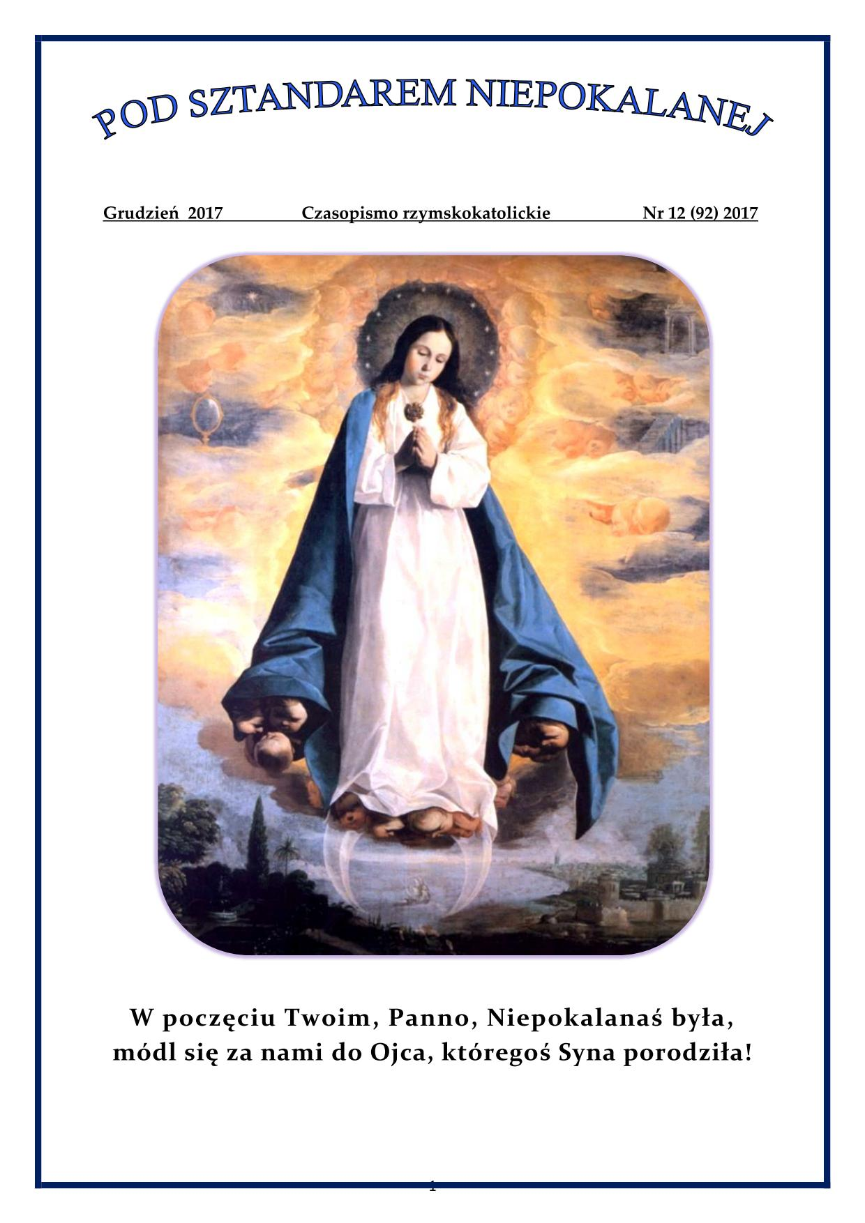 """""""Pod sztandarem Niepokalanej"""". Nr 92. Grudzień 2017. Czasopismo rzymskokatolickie."""
